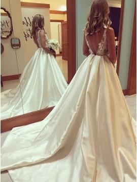Ball Gown Bateau Backless Court Train Satin Wedding Dress