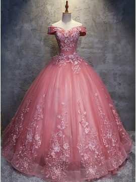 Ball Gown Off-the-Shoulder Lace-Up Pink Wedding Dress with Appliques Beading