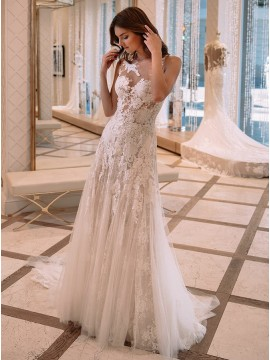 A-Line Illusion Bateau Back Sexy Wedding Dress with Lace Appliques