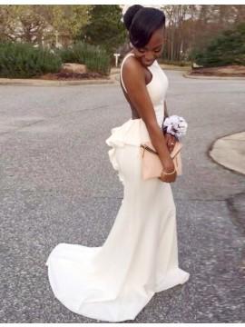 White Mermaid Backless Bateau Sweep Train Prom Dress with Ruffles