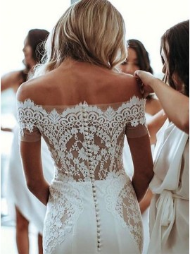 Off-the-Shoulder Lace Mermaid Wedding Bride Dress with Sleeves