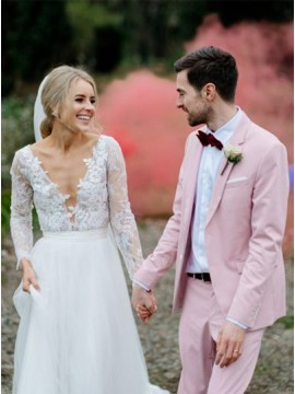 Deep V-Neck Appliques Lace Backless Wedding Dress with Long Sleeves