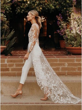 Long Sleeve Sexy See-Through Modern Bodysuit Wedding Dress
