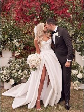 A-line Sweetheart Satin Wedding Dress with Split