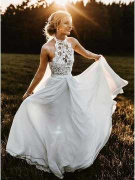Romantic A-Line Halter Sleeveless Chiffon Beach Wedding Dress with Lace