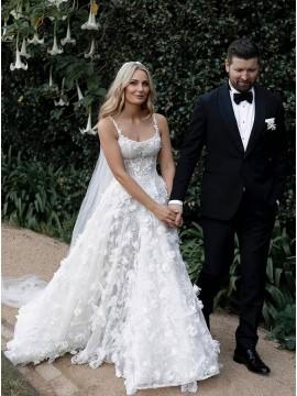 Charming Square Collar Lace Wedding Dress
