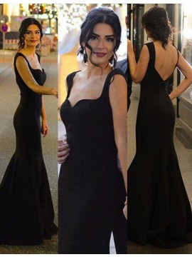 Mermaid Straps Sleeveless Sweep Train Backless Black Prom Dress