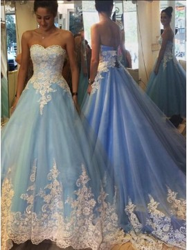 A-Line Sweetheart Sweep Train Light Blue Prom Dress with Lace