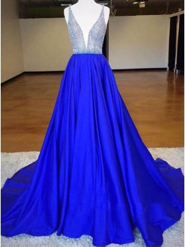 A-Line Deep V-Neck Sweep Train Royal Blue Prom Dress with Beading