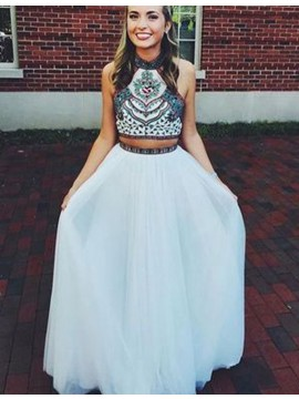 Two Piece A-Line Halter Open Back Long White Prom Dress with Embroidery