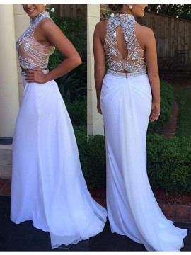 Mermaid High Neck Sweep Train Open Back White Prom Dress with Beading