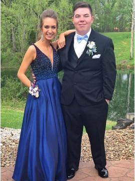 A-Line V-Neck Floor-Length Navy Blue Prom Dress with Beading Pockets