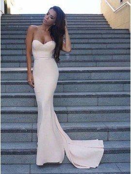 Mermaid Sweetheart Sleeveless Sweep Train Ivory Prom Dress