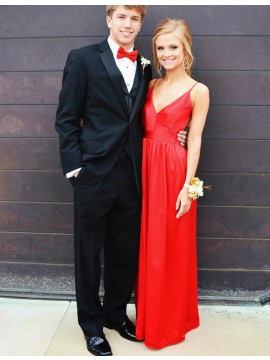 A-Line Spaghetti Straps Floor Length Backless Red Prom Dress with Pleats