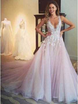 A-Line Deep V-neck Sweep Train Sexy Prom Dress with Appliques