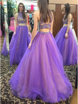 Two Piece High Neck Open Back Beaded Modern Lavender Prom Dress