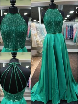 A-Line Round Neck Backless Sweep Train Emerald Dress with Beading