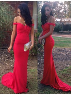 Mermaid Off the Shoulder Sweep Train Open Back Red Prom Dress