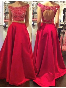 Two Piece A-Line Bateau Cap Sleeves Long Red Beaded Prom Dress