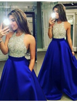 Royal Blue A-Line Halter Backless Floor-Length Beaded Prom Dress