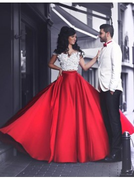 A-Line Off the Shoulder Short Sleeves Long Red Prom Dress with Lace