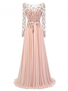 A-Line Sheer Sleeves Backless Pink Prom Dress with Sequins Beading