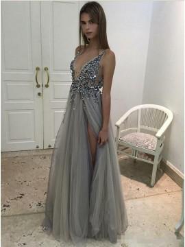 A-Line Deep V-Neck Backless Slit Legs Beaded Grey Tulle Prom Dress