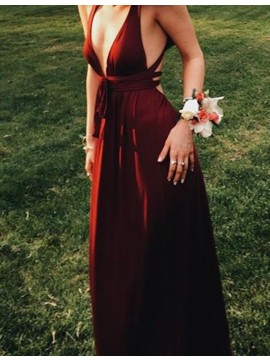 A-Line Deep V-Neck Backless Sexy Burgundy Prom Dress with Sashes