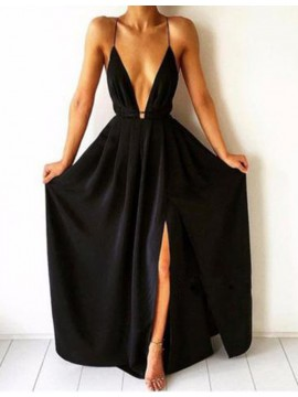A-Line Spaghetti Straps Split Front Backless Long Black Prom Dress with Pleats
