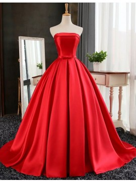 Ball Gown Strapless Floor Length Red Prom Dress with Pleats