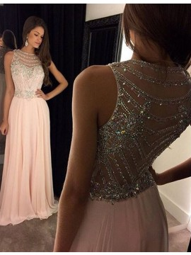 A-Line Bateau Sleeveless Illusion Back Long Pink Prom Dress with Beading