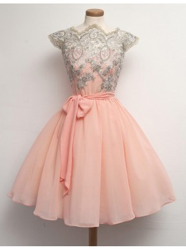 A-Line Scalloped Cap Sleeves Sash Peach Knee-Length Prom Dress with Lace