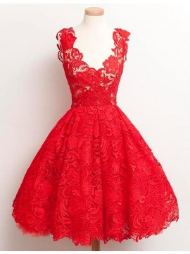 A-Line Scoop Sleeveless Above-Knee Red A-Line Lace Prom Dress