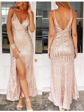 Sheath Deep V-Neck Ankle-Length Pink Sequined Prom Dress with Split