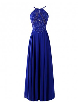 A-Line Round Neck Rhinestone Backless Long Royal Blue Prom Dress with Beading