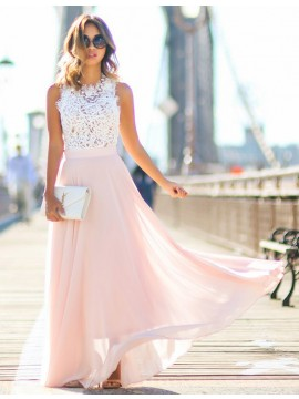 A-Line Round Neck Sleeveless Long Pearl Pink Prom Dress with Lace