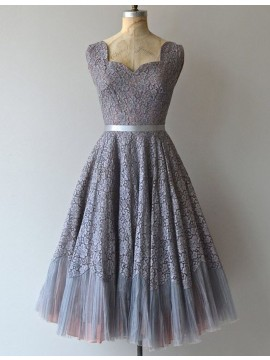 A-Line Scalloped Sleeveless Mid-Calf Grey Lace Prom Dress with Sash