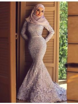 Elegant Mermaid Scoop Long Sleeves Sweep Train Lilac Lace Prom Dress