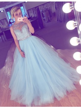 A-Line Crew Floor-Length Sequins Light Blue Prom Dress with Beading