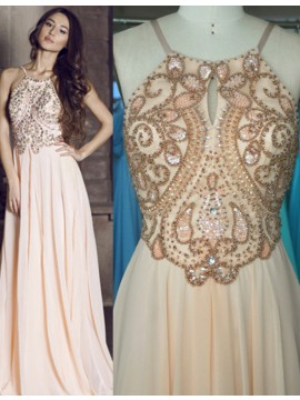 A-Line Halter Keyhole Pleats Backless Long Peach Prom Dress with Beading