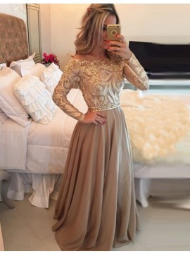 A-Line Scalloped Long Sleeves Illusion Back Long Prom Dress with Lace Beading
