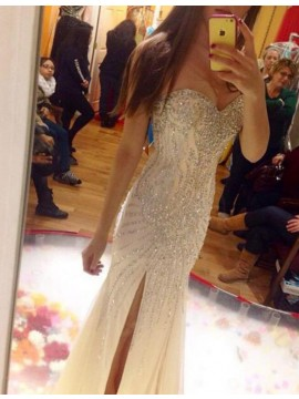 Mermaid Sweetheart Sleeveless Split Front Long Ivory Prom Dress with Beading