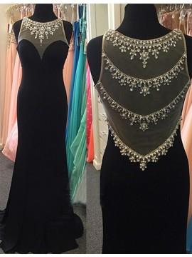 Mermaid Crew Illusion Back Long Black Prom Dress with Beading