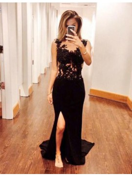 Mermaid Crew Open Back Floor-Length Black Prom Dress with Appliques