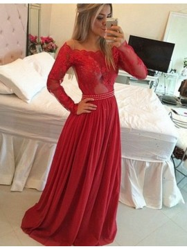 A-Line Scalloped Long Sleeves Red Long Prom Dress with Lace Beading