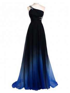 A-Line One Shoulder Open Back Beaded Elegant Gradual Blue Prom Dress