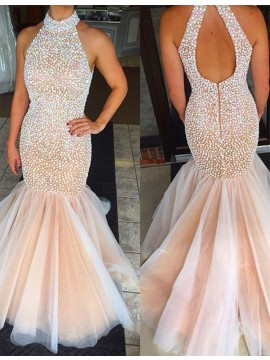 Mermaid High Neck Sleeveless Open Back Long Pink Prom Dress with Pearls