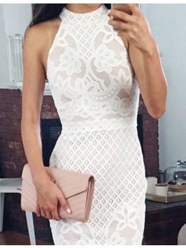 Sheath Round Neck Sleeveless Knee-Length White Lace Prom Dress