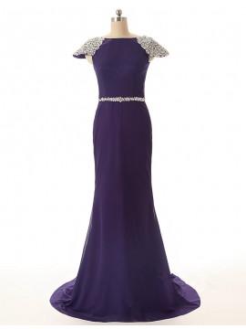 Mermaid Bateau Cap Sleeves Long Purple Prom Dress with Beading
