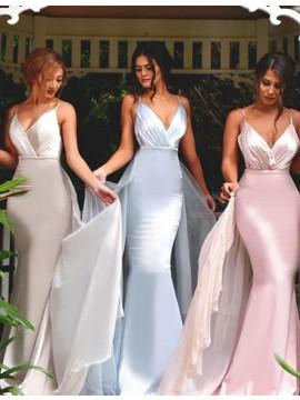 Mermaid Spaghetti Straps Detachable Light Blue Prom Dress with Pleats